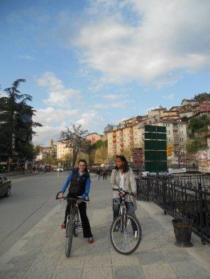 Riding through town
